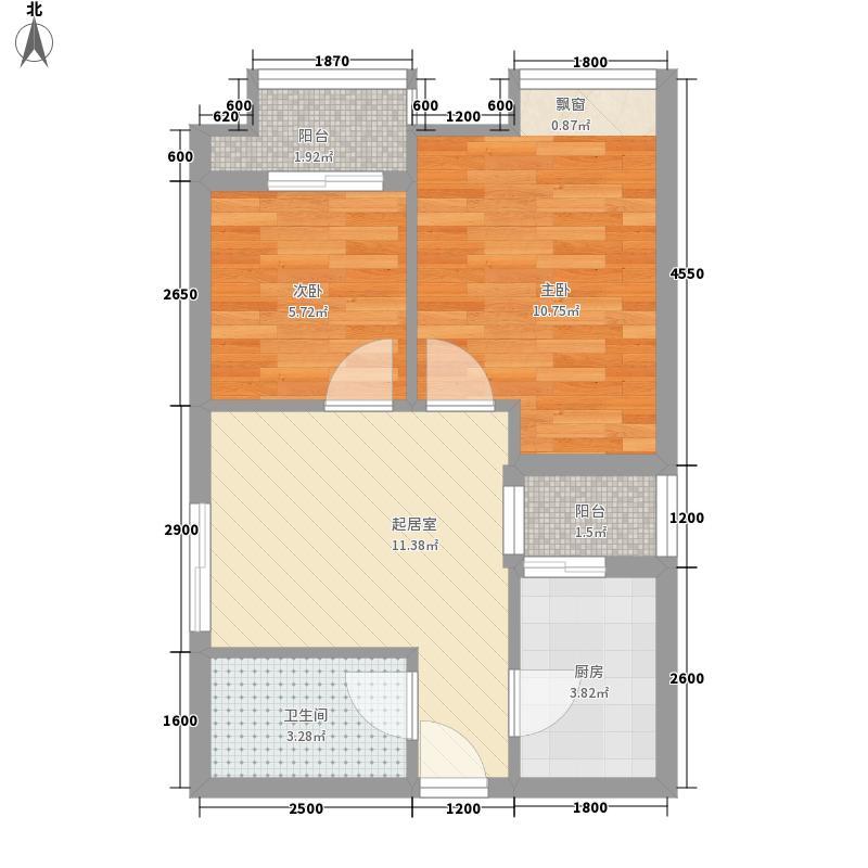 福星惠誉国际城三期61.36㎡福星惠誉国际城三期户型图K3-A户型2室1厅1卫1厨户型2室1厅1卫1厨