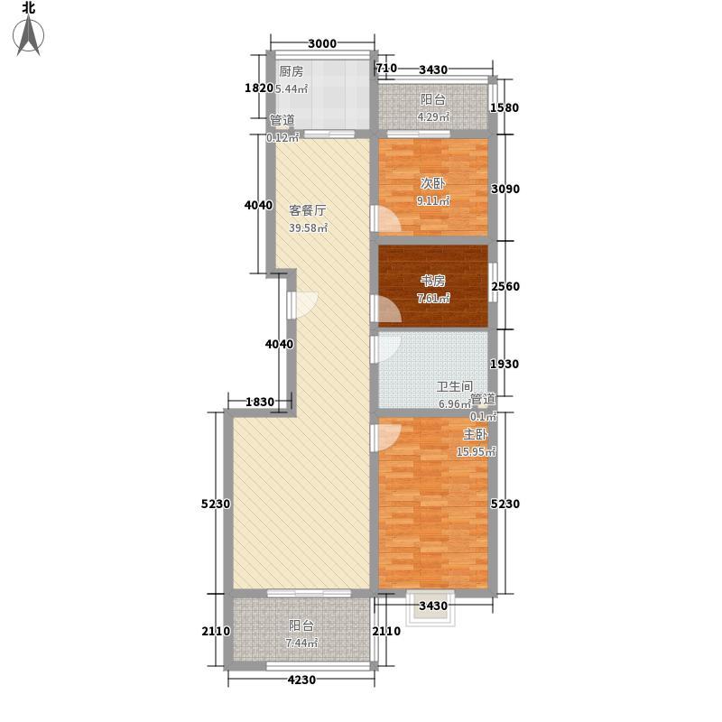 永利金色花园122.42㎡C2-2户型3室2厅1卫1厨