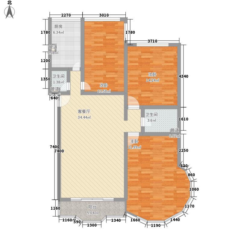 欧洲阳光城161.37㎡D户型3室2厅2卫1厨