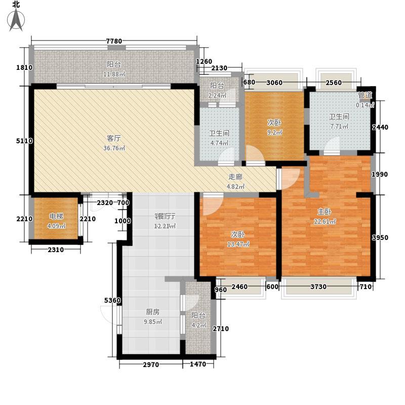 绿地锦天府183.00㎡一期C1户型3室2厅2卫1厨