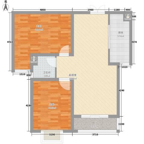盛世桃城2室0厅1卫1厨68.22㎡户型图