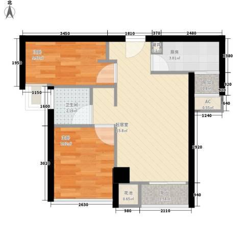 置地逸轩2室0厅1卫1厨56.00㎡户型图