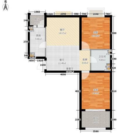 恒阳花苑海上花2室1厅1卫1厨85.00㎡户型图