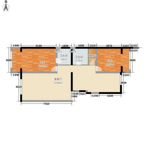 亚泰豪苑2室1厅2卫0厨156.00㎡户型图