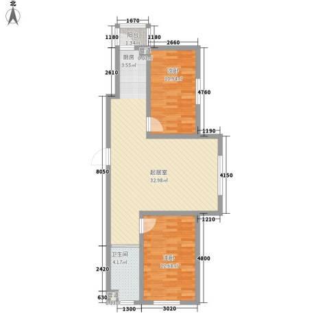 天一朝阳地矿花园2室0厅1卫0厨93.00㎡户型图