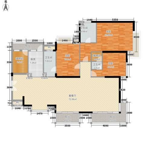 中海银海湾3室1厅3卫1厨205.00㎡户型图