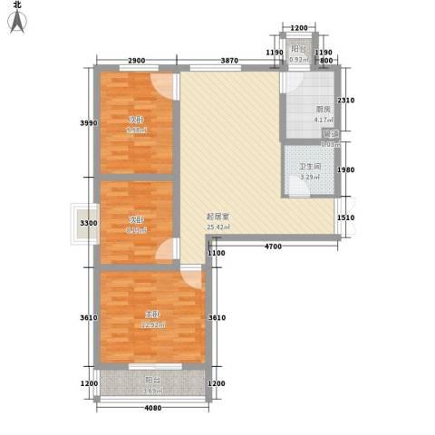 盛世桃城3室0厅1卫1厨68.56㎡户型图