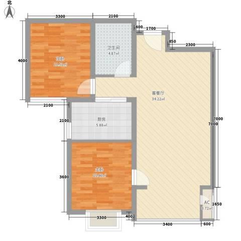 碧水蓝山2室1厅1卫1厨96.00㎡户型图