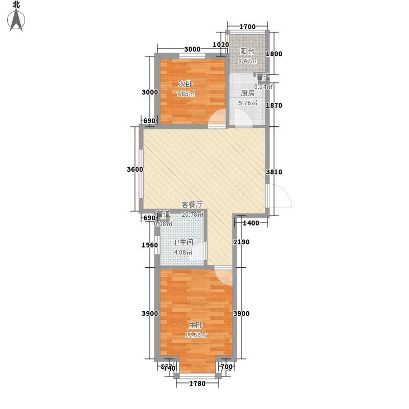 百荷湾三期67.60㎡百荷湾三期户型图多层A2户型2室2厅1卫1厨户型2室2厅1卫1厨