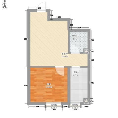 百荷湾三期1室1厅1卫1厨51.00㎡户型图
