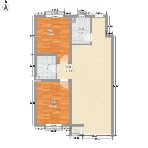百荷湾三期2室1厅1卫1厨94.00㎡户型图