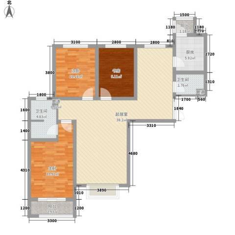 盛世桃城3室0厅2卫1厨134.00㎡户型图