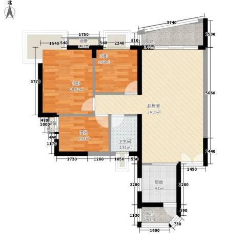 长城盛世家园二期3室0厅1卫1厨86.00㎡户型图