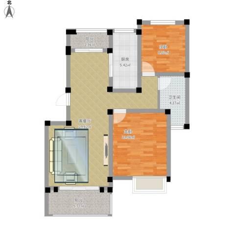重汽翡翠东郡2室1厅1卫1厨101.00㎡户型图