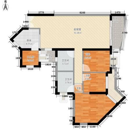 长城盛世家园二期3室0厅2卫1厨113.00㎡户型图