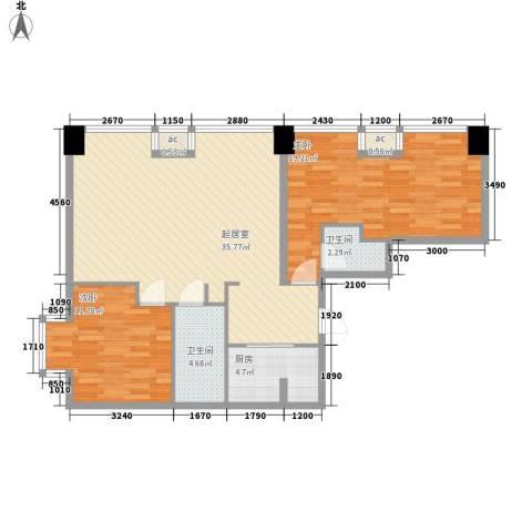 瞰都・领仕馆2室0厅2卫1厨112.00㎡户型图