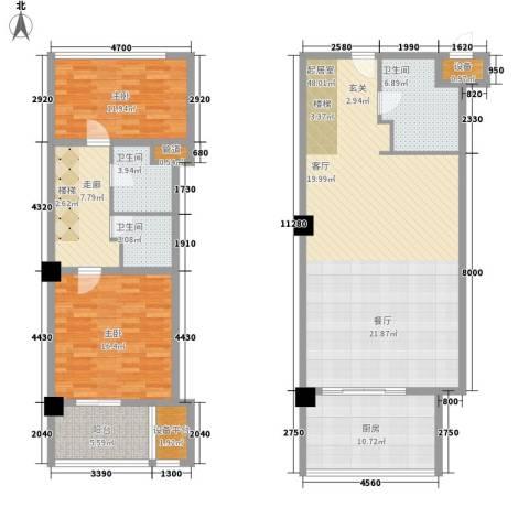 香格梅里公馆2室0厅3卫1厨117.80㎡户型图