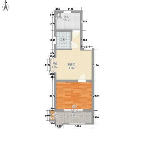 长鑫美树园1室0厅1卫1厨51.00㎡户型图