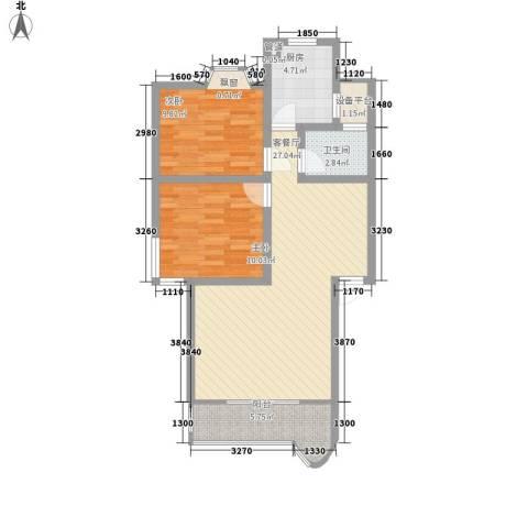 长鑫美树园2室1厅1卫1厨89.00㎡户型图