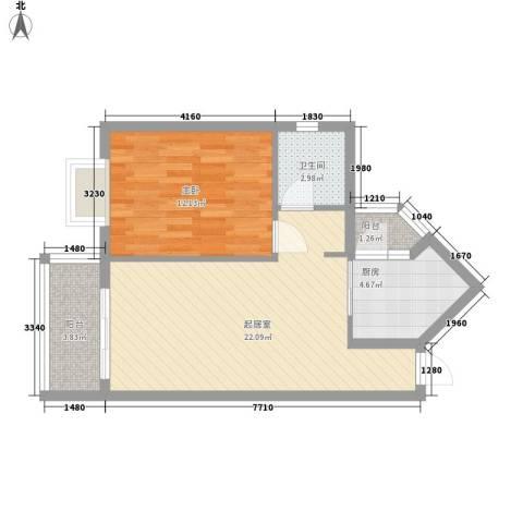 澜香溪谷1室0厅1卫1厨68.00㎡户型图