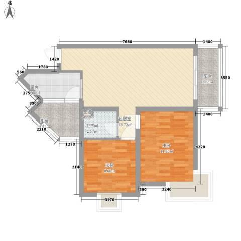 澜香溪谷2室0厅1卫1厨83.00㎡户型图