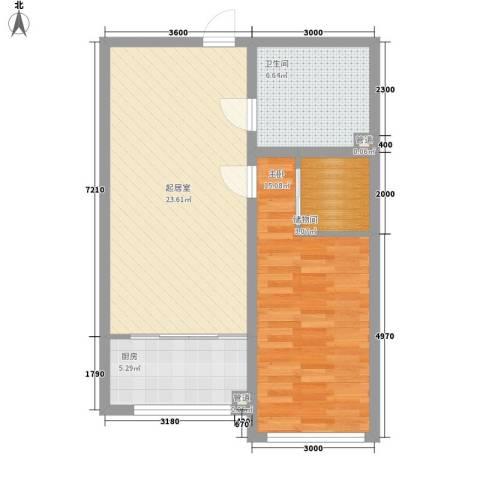 恒光小区1室0厅1卫1厨77.00㎡户型图