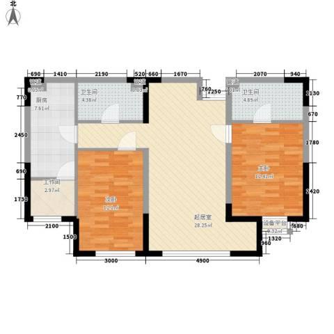 哈佛特区2室0厅2卫1厨76.00㎡户型图