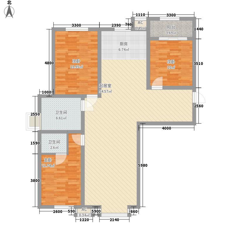 恒光小区3室2厅2户型3室2厅1卫1厨