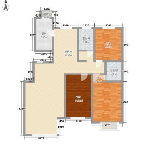 公安家属楼3室0厅2卫1厨156.00㎡户型图
