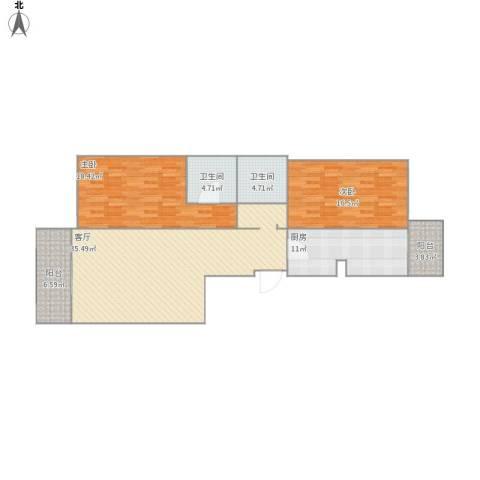 天通苑西三区2室1厅2卫1厨130.00㎡户型图
