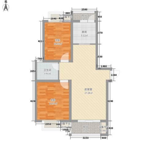 东苑新天地2室0厅1卫1厨96.00㎡户型图