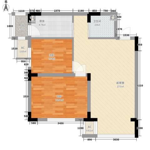 安达天下2室0厅1卫1厨78.00㎡户型图