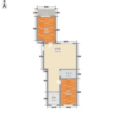 亿隆富贵名苑2室0厅1卫1厨82.88㎡户型图