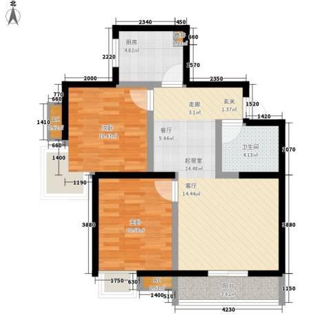 卡布奇诺国际社区2室0厅1卫1厨87.00㎡户型图