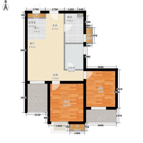 金龙花园二期2室0厅1卫1厨90.00㎡户型图