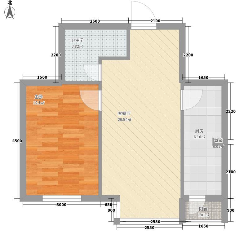 湖畔诚品56.60㎡08二期新品户型图10户型1室1厅1卫