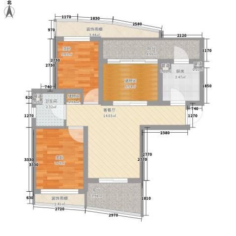 顺泽・翠屏湾2室1厅1卫1厨73.00㎡户型图