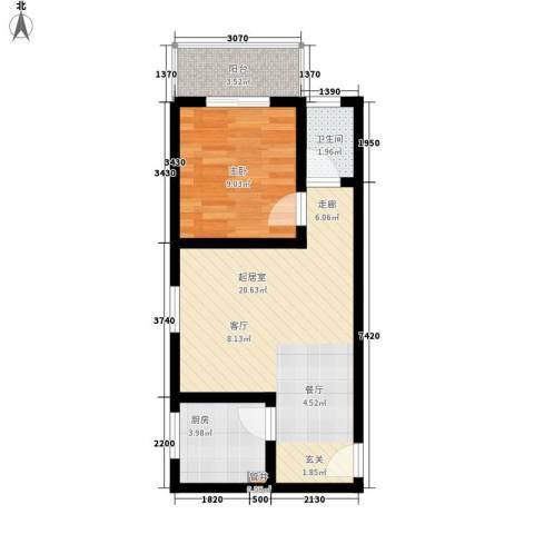 金龙花园二期1室0厅1卫1厨58.00㎡户型图