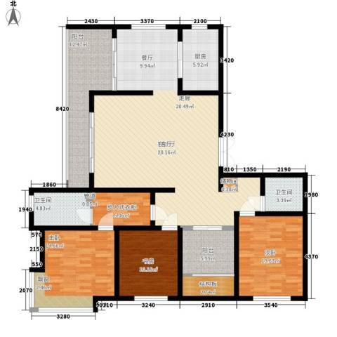 龙泽半岛逸湾3室1厅2卫1厨150.00㎡户型图