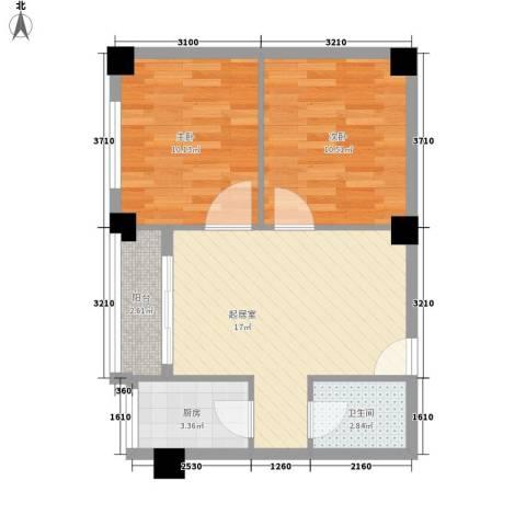 来鹤北苑2室0厅1卫1厨67.00㎡户型图