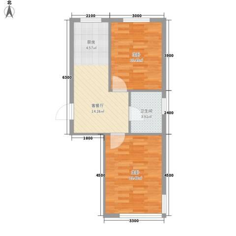 龙畔金泉三期2室1厅1卫0厨58.00㎡户型图