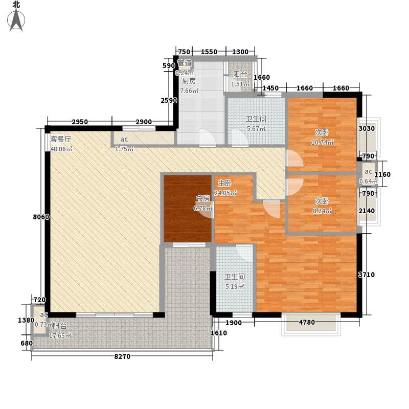 翔韵雅荟142.70㎡4室2厅户型4室2厅2卫1厨