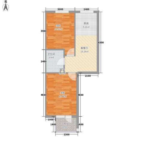龙畔金泉三期2室1厅1卫0厨60.00㎡户型图