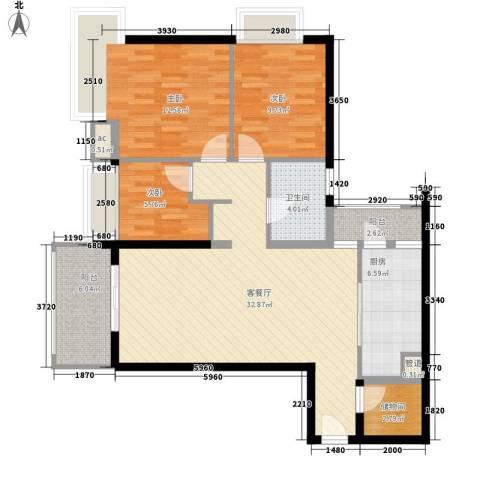 富庄庭3室1厅1卫1厨96.00㎡户型图