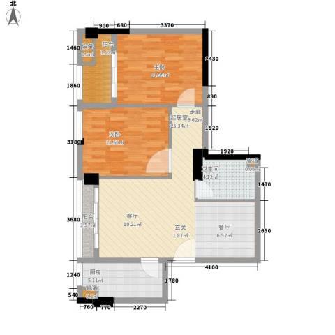 阳光城新界2室0厅1卫1厨64.00㎡户型图