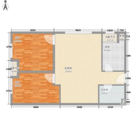 红星MOMA新程2室0厅1卫1厨82.00㎡户型图