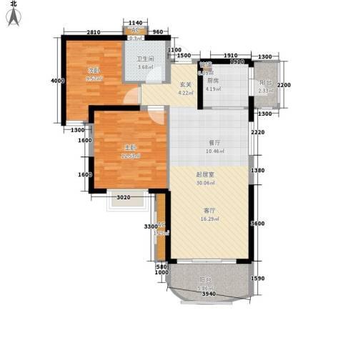 碧桂园十里银滩2室0厅1卫1厨76.00㎡户型图