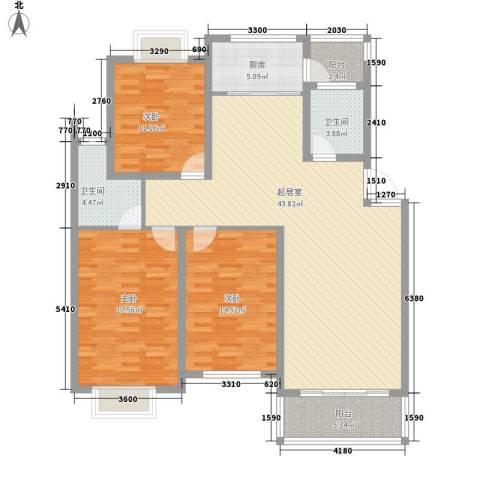 来鹤北苑3室0厅2卫1厨153.00㎡户型图