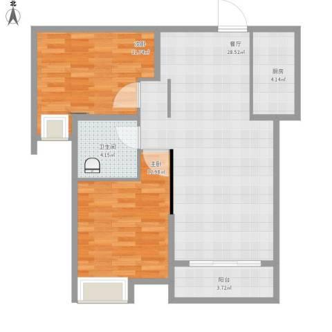 沂龙湾慧园2室1厅1卫1厨91.00㎡户型图