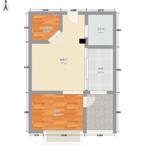 学府华园1室1厅1卫1厨55.00㎡户型图